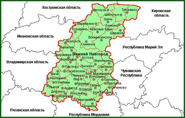 Карта нижегородской области.